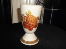 VINTAGE POTTERY FOOTED GOBLET CUP WITH FRUIT DESIGN ANCHOR & ARROW STAMP